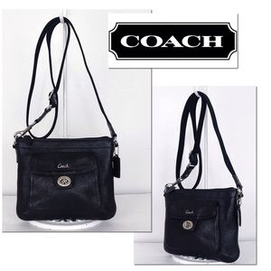 Coach Black Pebble Leather Turnlock Crossbody Bag